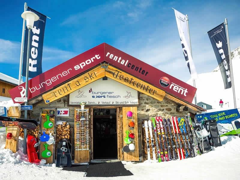 Magasin de location de ski Burgener Sport à Fiescheralp [direkt neben Luftseilbahn], Fiesch